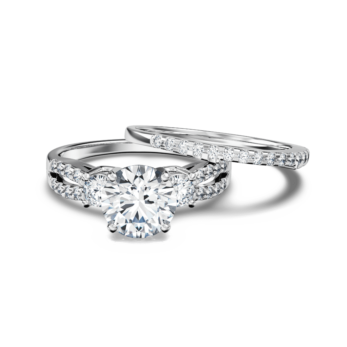 Classic Open Band Three Stone Set