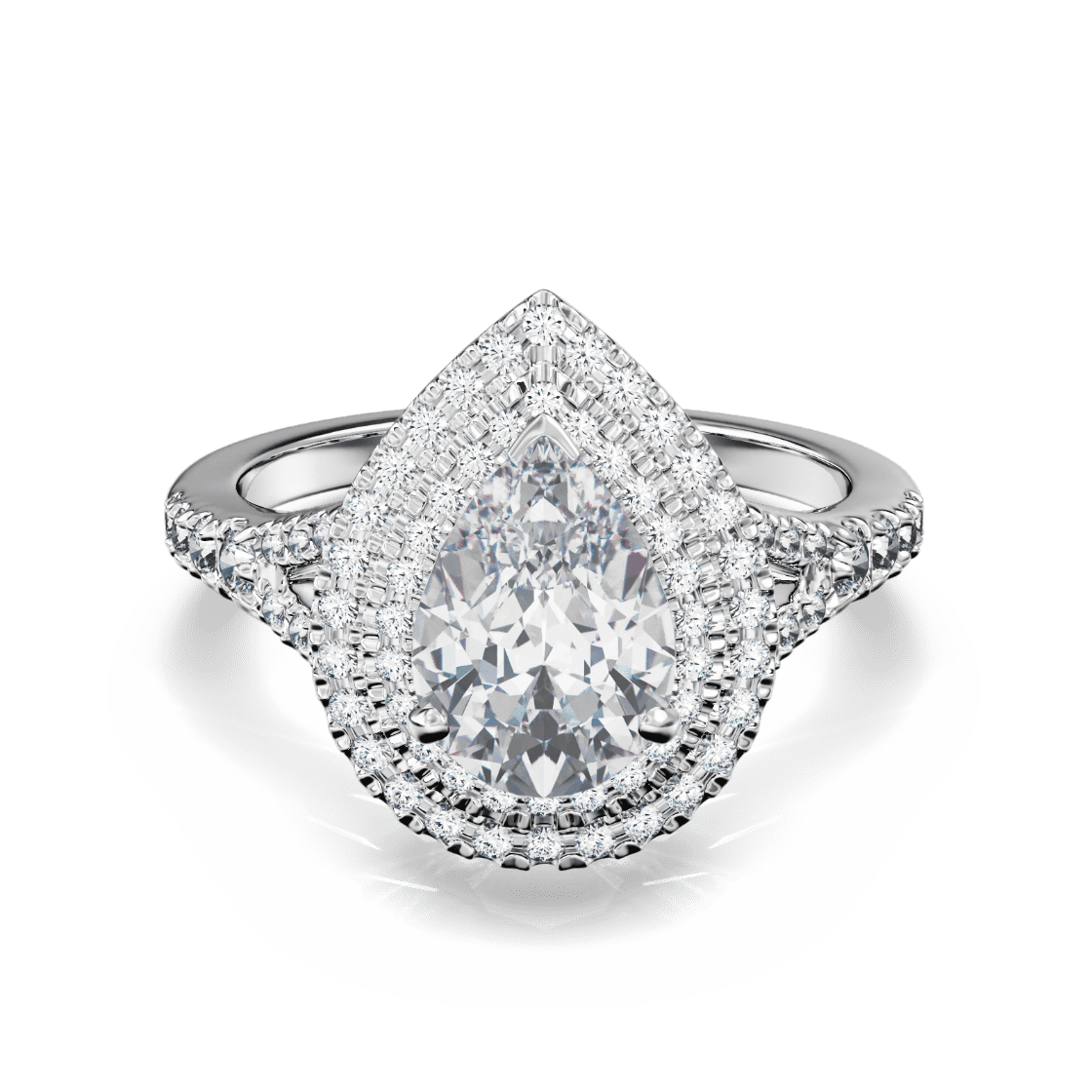 Split Shank Double Pear Halo